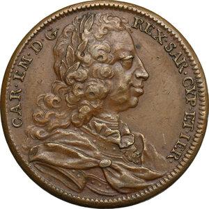 obverse: Carlo Emanuele III (1730-1773).. Medaglia 1734, per le battaglie di San Pietro (o della Crocetta) e di Guastalla, combattute dall esercito Franco-Piemontese contro l esercito Austriaco
