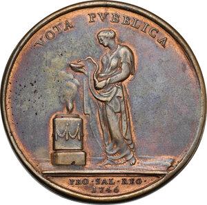 reverse: Carlo Emanuele III (1730-1773).. Medaglia 1746, per la guarigione dal vaiolo