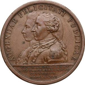 reverse: Vittorio Amedeo III (1773-1796).. Medaglia 1789 per le nozze di Vittorio Emanuele con Maria Teresa d Asburgo Lorena