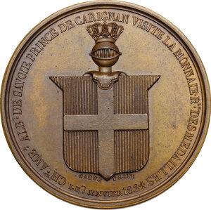 obverse: Carlo Alberto (1798-1849). Medaglia 1824 per la visita alla Zecca di Parigi