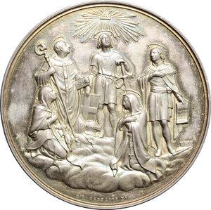 obverse: Carlo Alberto (1798-1849).. Medaglia 1839 per i Beati di Casa Savoia: Amedeo IX di Savoia (1435-1472) e Margherita di Savoia (1390-1464), proclamati da Innocenzo XI nel 1678-79, e Umberto III di Savoia (1136-1188), Bonifacio di Savoia (1217-1270), Beata Ludovica di Savoia (1462-1503), proclamati da Papa Gregorio XVI nel 1838-39