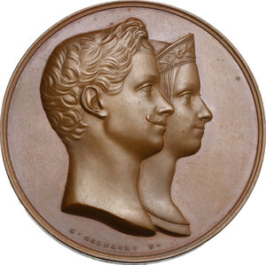 obverse: Vittorio Emanuele II  (1820-1878). Medaglia 1842 per le nozze con Maria Adelaide d Asburgo-Lorena