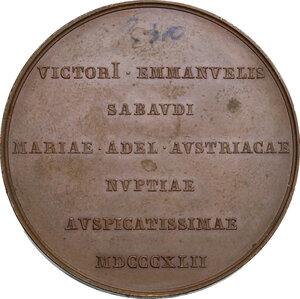 reverse: Vittorio Emanuele II  (1820-1878). Medaglia 1842 per le nozze con Maria Adelaide d Asburgo-Lorena