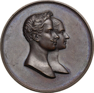 obverse: Vittorio Emanuele II  (1820-1878).. Medaglia 1842 per le nozze  con Maria Adelaide d Asburgo-Lorena