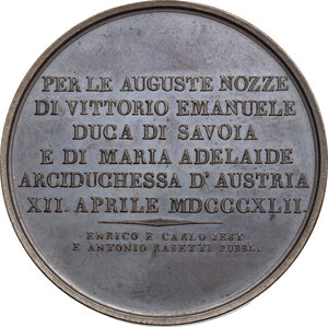 reverse: Vittorio Emanuele II  (1820-1878).. Medaglia 1842 per le nozze  con Maria Adelaide d Asburgo-Lorena