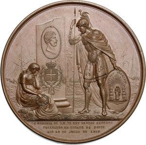 obverse: Vittorio Emanuele II  (1820-1878).. Medaglia 1854 in memoria di Carlo Alberto, deceduto a Oporto