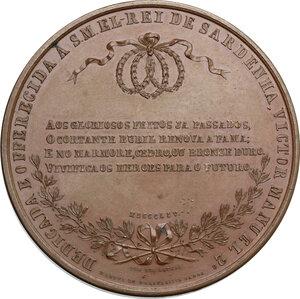 reverse: Vittorio Emanuele II  (1820-1878).. Medaglia 1854 in memoria di Carlo Alberto, deceduto a Oporto