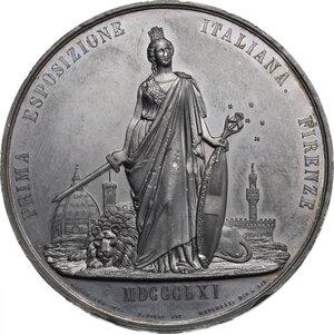 reverse: Vittorio Emanuele II  (1820-1878).. Medaglia 1861 per la Prima Esposizione Italia di Firenze
