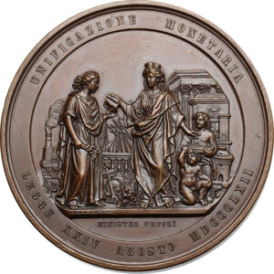 reverse: Vittorio Emanuele II (1820-1878). Medaglia 1862 per la Legge di unificazione monetaria d Italia