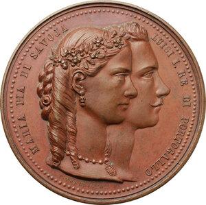 obverse: Maria Pia di Savoia e Luigi I Re di Portogallo. Medaglia 1862 per le nozze per procura, con re Luigi del Portogallo, celebrate a Torino nella cappella della Santa Sindone