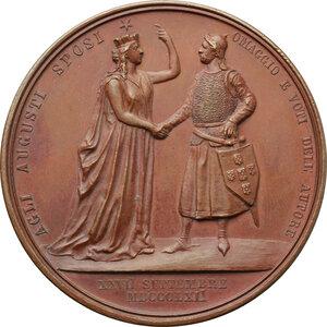 reverse: Maria Pia di Savoia e Luigi I Re di Portogallo. Medaglia 1862 per le nozze per procura, con re Luigi del Portogallo, celebrate a Torino nella cappella della Santa Sindone
