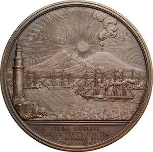obverse: Vittorio Emanuele II  (1820-1878).. Medaglia 1863 per la prima rassegna della flotta italiana a Napoli