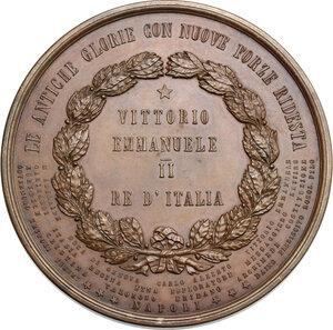 reverse: Vittorio Emanuele II  (1820-1878).. Medaglia 1863 per la prima rassegna della flotta italiana a Napoli