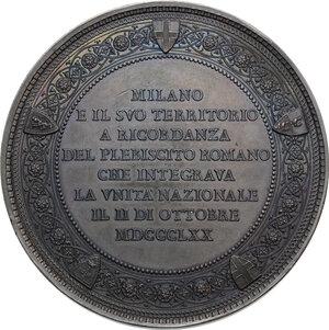 reverse: Vittorio Emanuele II  (1820-1878).. Medaglia 2 ottobre 1870 a ricordo del Plebiscito per l annessione di Roma all Italia