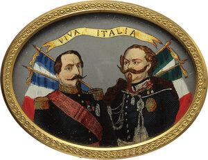 obverse: Vittorio Emanuele II (1820-1878).. Miniatura ovale in elegante cornice operata in bronzo dorato raffigurante Napoleone III e Vittorio Emanuele II all epoca delle Guerre d Indipendenza Italiane