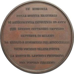 reverse: Umberto I (1878-1900).. Medaglia 1881 per la Mostra di Agricoltura, Industria ed Arte in Milano