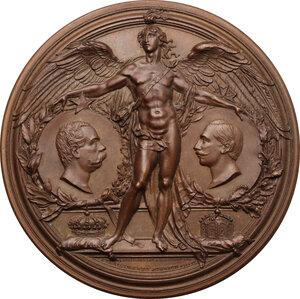 obverse: Umberto I (1878-1900).. Medaglia 1888 per la visita di Guglielmo II a Roma