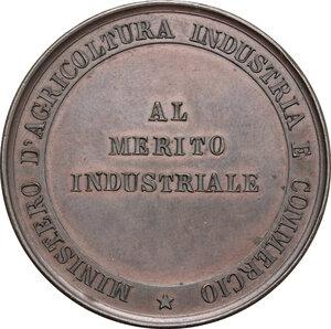 reverse: Umberto I (1878-1900).. Medaglia s.d. del Ministero d Agricoltura Industria e Commercio, al merito industriale