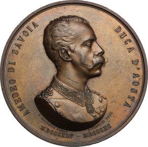 obverse: Amedeo di Savoia (1845-1890), fratello di Umberto I e re di Spagna. Medaglia 1890, per la morte