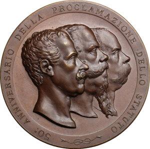 obverse: Umberto I (1878-1900). Medaglia 1898 per il cinquantenario dello Statuto Albertino