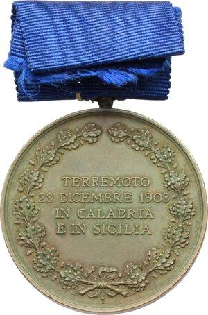 reverse: Vittorio Emanuele III (1900-1943).. Medaglia di benemerenza per il terremoto Calabro-Siculo. Istituita il 6 Maggio 1909