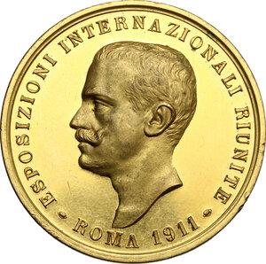 obverse: Vittorio Emanuele III (1900-1943).. Medaglia 1911 in occasione delle Esposizioni Internazionali Riunite