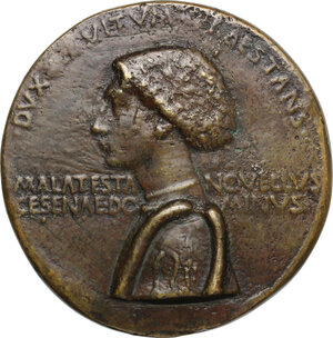 obverse: Domenico Novello Malatesta (1429-1465), Signore di Cesena.. Medaglia 1445