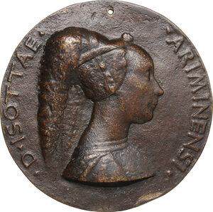 obverse: Isotta degli Atti (1432-1474) moglie di Sigismondo Malatesta, Signore di Rimini. Medaglia 1446