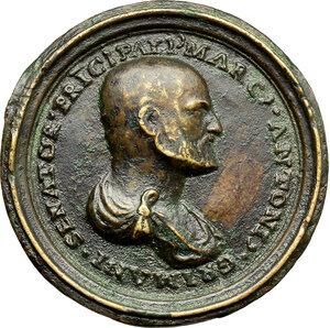 obverse: Venezia.  Marcantonio Grimani (1484-1566), senatore.. Medaglia 1553 con bordo modanato