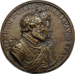 obverse: Enrico IV Re di Francia (1589-1610) e Maria de Medici. Medaglia 1603