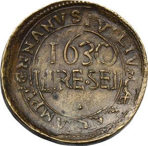 reverse: Giulio Cesare Lampugnano (sec. XVII), mercante milanese. Medaglia o tessera 1630 da lire sei