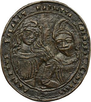 obverse: Alberto Valla e Marietta Cornara, sposi.. Medaglia, seconda metà del XVII secolo, Venezia