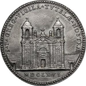 reverse: Giovanni Battista Borghese (1639-1717). Medaglia 1666 per la ricostruzione della Chiesa di San Gregorio Magno di Monte Porzio Catone