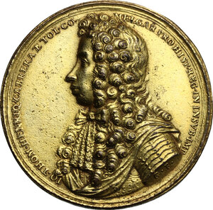 obverse: Genova.  Juan Tomás Enríquez de Cabrera (1646 – 1705), Generale e politico spagnolo. Medaglia s.d. (1684) per la liberazione di Genova, bombardata dalle truppe di Re Luigi XIV nel 1684