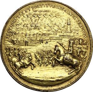 reverse: Genova.  Juan Tomás Enríquez de Cabrera (1646 – 1705), Generale e politico spagnolo. Medaglia s.d. (1684) per la liberazione di Genova, bombardata dalle truppe di Re Luigi XIV nel 1684