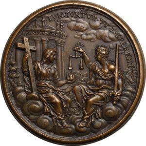 reverse: Francesco I Farnese (1694-1727).. Medaglia 1696 con bordo modanato