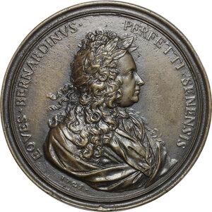 obverse: Bernardino Perfetti (1681-1747), poeta e professore senese.. Medaglia 1725 con bordo modanato