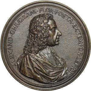 obverse: Alessandro Ghivizzani (XVII-XVIII sec.), poeta fiorentino.. Medaglia 1750 con bordo modanato