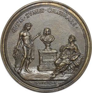 reverse: Alessandro Ghivizzani (XVII-XVIII sec.), poeta fiorentino.. Medaglia 1750 con bordo modanato