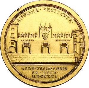 reverse: Almorò Pisani (1759-1836), podestà e vice capitano di Verona.. Medaglia 1791