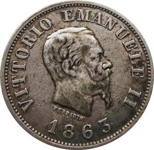 obverse: Casa Savoia. Vittorio Emanuele II. 50 centesimi 1863 M Stemma. Raro. rf