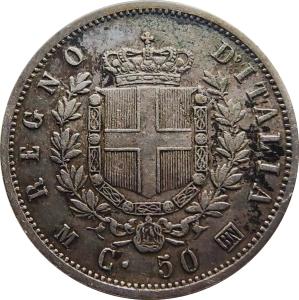 reverse: Casa Savoia. Vittorio Emanuele II. 50 centesimi 1863 M Stemma. Raro. rf