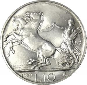 reverse: Casa Savoia. Vittorio Emanuele III. 10 Lire 1929 **. Ag.FDC. Minimi segni ma esemplare di grande freschezza. NC. rf10