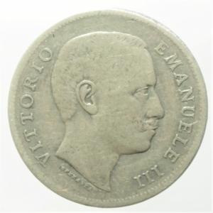 obverse: Casa Savoia. Vittorio Emanuele III. Lira 1907. Ag. Aquila araldica. MB\BB.