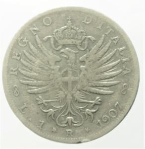 reverse: Casa Savoia. Vittorio Emanuele III. Lira 1907. Ag. Aquila araldica. MB\BB.