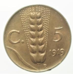 reverse: Casa Savoia. Vittorio Emanuele III. 5 Centesimi 1919. R. Rame rosso . FDC.ex Tintinna 80 lotto 603 aggiudicato ma non pagato