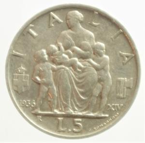 reverse: Casa Savoia. Vittorio Emanuele III. 5 Lire 1936 Italia. Ag. Pagani 719. Peso 5,00 gr. Diametro 23 mm. BB+.**