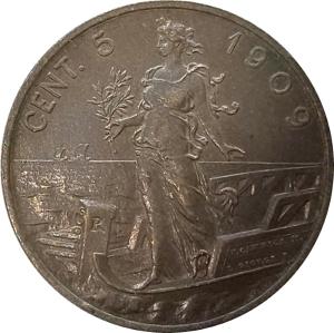 reverse: Casa Savoia. Vittorio Emanuele III. 5 centesimi 1909. SPL+/qFDC. NC.rf