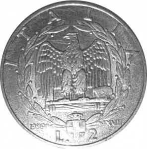 reverse: Casa Savoia. Vittorio Emanuele III. 2 Lire 1939 XVII Impero magneticaqFDC. rf