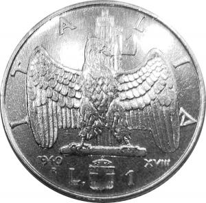reverse: Casa Savoia. Vittorio Emanuele III. 1 Lira 1940 XVIII Impero magneticoqFDC. Segnetto al ciglio rf